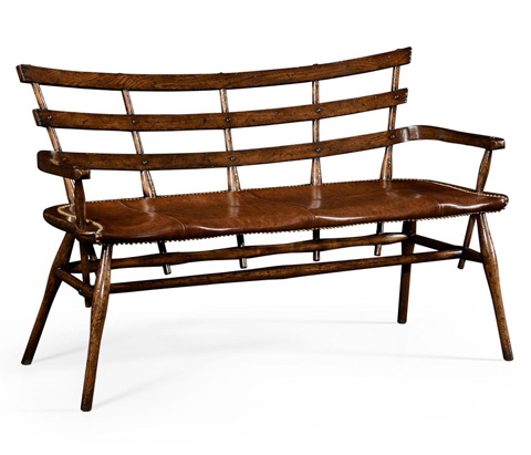 Image of Oak Bench With Studded Leather Seat