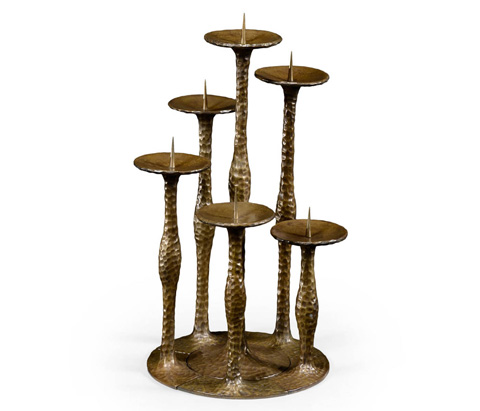 Image of Textured Brass Six Branch Candlestick