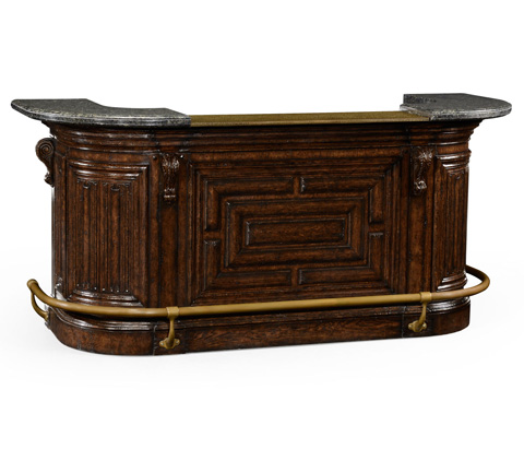 Jonathan Charles - Linenfold Dark Oak Home Bar - 494490