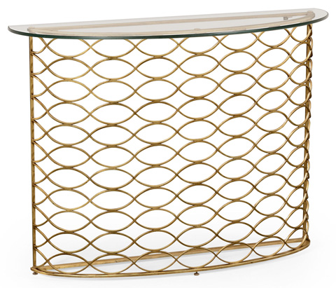 Jonathan Charles - Interlaced Gilded and Glass Demilune Console - 494569-G