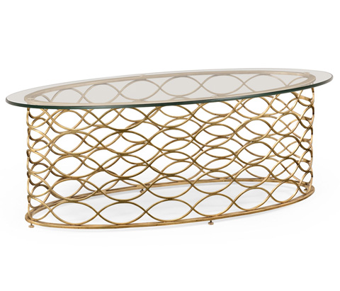 Jonathan Charles - Interlaced Gilded and Glass Oval Coffee Table - 494577-G