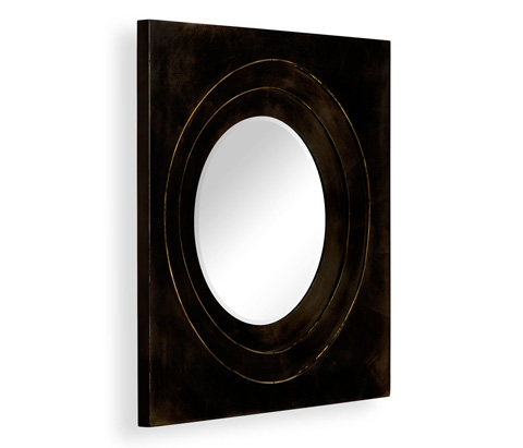 Jonathan Charles - Black Framed Round Mirror - 494772-BLA