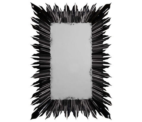 Image of Black Finish Rectangular Sunburst Mirror