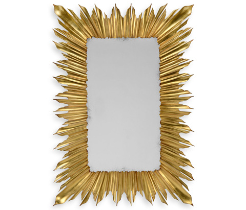 Image of Gilded Rectangular Sunburst Mirror