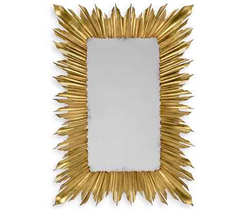 Image of Gilded Rectangular Sunburst Mirror