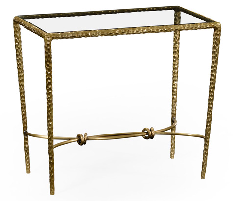 Image of Hammered Brass Rectangular Side Table