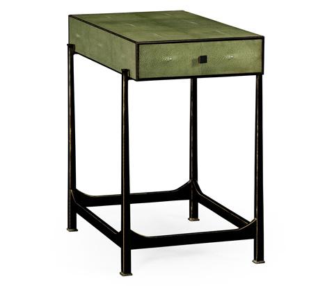 Jonathan Charles - Green Faux Shagreen Bronze Side Table - 495044-B