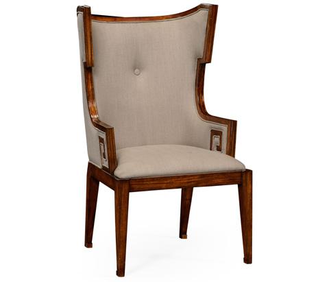 Jonathan Charles - Greek Key Design Biedermeier Walnut Arm Chair - 495047-WAL-AC