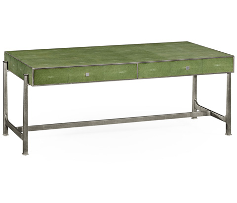 Jonathan Charles - Green Faux Shagreen Silver Coffee Table - 495070-S