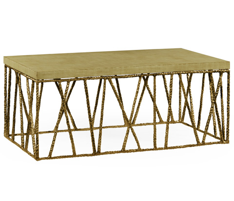 Jonathan Charles - Brass Hammered Coffee Table with Celadon Top - 495086-BRA