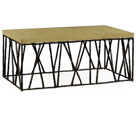Jonathan Charles - Bronze Hammered Coffee Table with Celadon Top - 495086-BRO