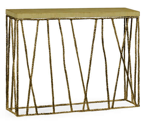 Jonathan Charles - Brass Hammered Console with Celadon Top - 495087-BRA