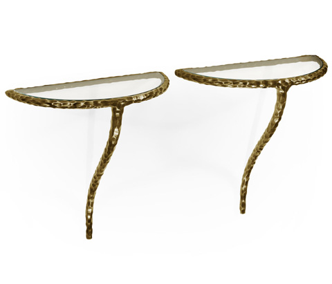 Image of Brass Hammered Pair of Wall Bracket Tables