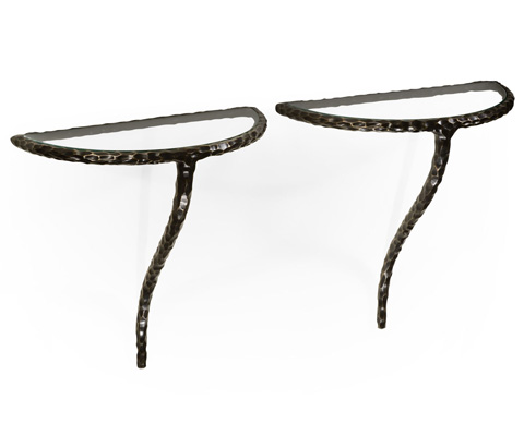 Image of Bronze Hammered Pair of Wall Bracket Tables