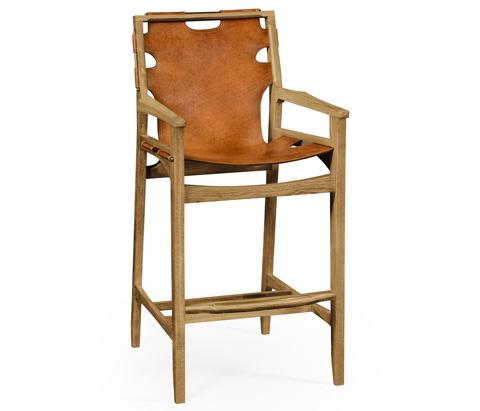Jonathan Charles - Midcentury Style Slung Leather Light Oak Barstool - 495098