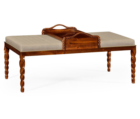 Image of Upholstered Ottoman With Tray Table