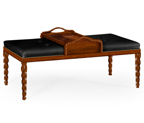Image of Black Leather Upholstered Ottoman