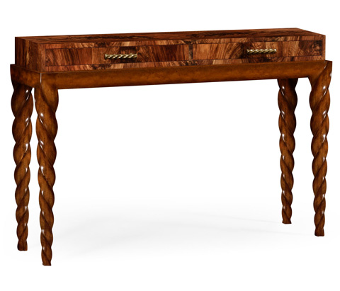 Image of Twisted Leg Walnut Console with Drawers