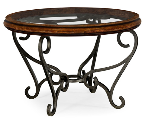 Jonathan Charles - Rustic Walnut and Glass Top Centre Table - 495192-RWL
