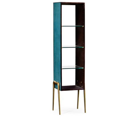 Jonathan Charles - Teal Faux Shagreen And Brass Legged Etagere - 495203