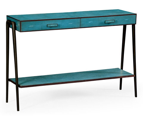 Image of Teal Faux Shagreen And Bronze Legged Console