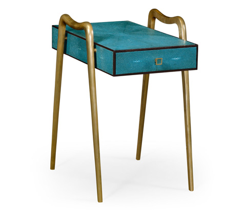 Jonathan Charles - Teal Faux Shagreen And Brass Legged End Table - 495205