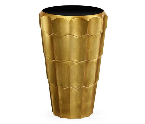 Jonathan Charles - Art Decor Antique Gold Leaf Side Table - 495241-GIL