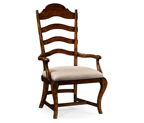 Image of Rustic Walnut Dining Arm Chair