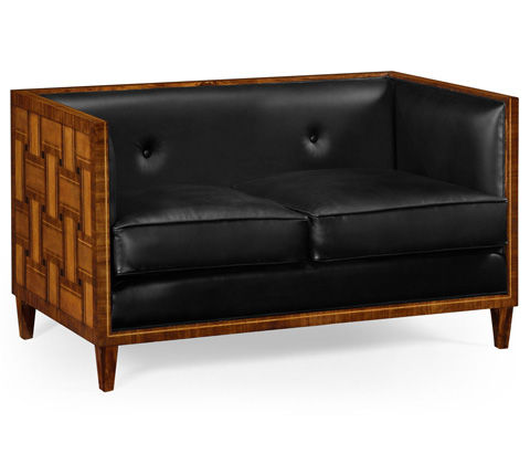 Image of Two Seater Transitional Sofa In Black Leather