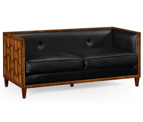 Image of Transitional Sofa In Black Leather