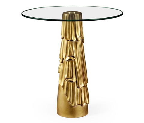 Image of Gilded Antique Gold Leaf Round Drink Table