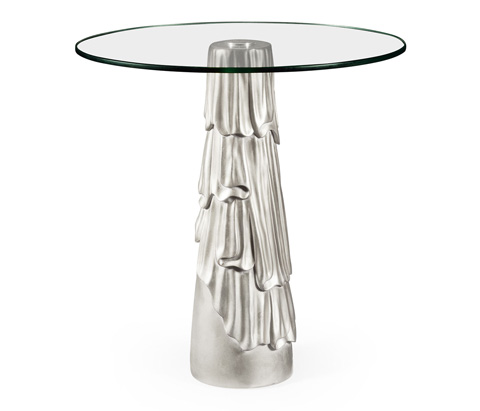 Image of Gilded Antique Silver Leaf Round Drink Table