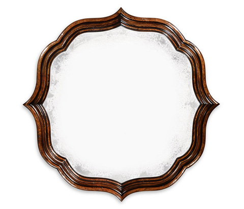 Jonathan Charles - Rustic Walnut Round Antique Mirror - 495324-RWL