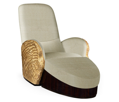 Image of Gold-Leaf Gilded Angel Wing Chair with Ottoman