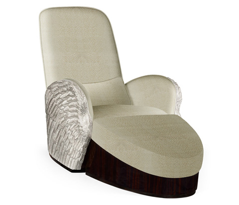 Jonathan Charles - Silver-Leaf Gilded Angel Wing Chair with Ottoman - 495349-SIL