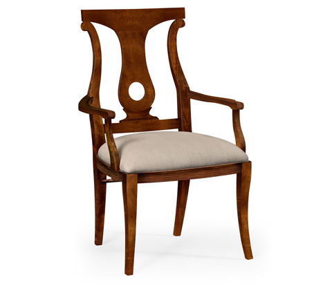 Image of Mahogany Brown Lock Dining Arm Chair