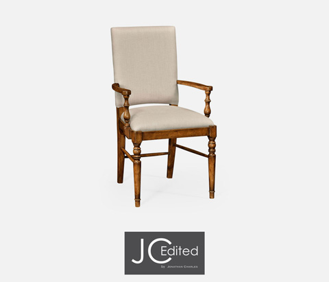 Jonathan Charles - Country Walnut Upholstered Arm Chair - 491018-AC-CFW