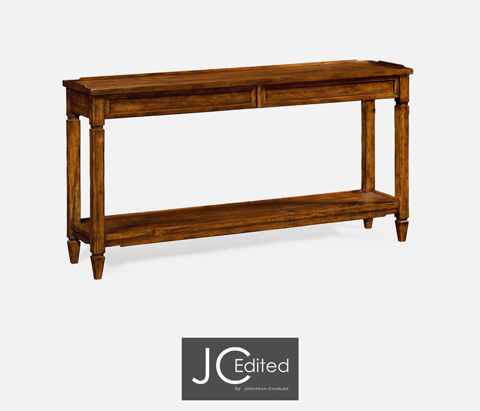 Jonathan Charles - Console Table with Drawers In Rustic Walnut - 491024-CFW