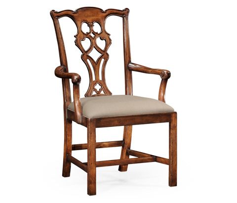 Image of Chippendale Style Classic Walnut Arm Chair
