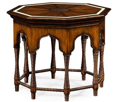 Jonathan Charles - Octagon Rustic Walnut Center Table - 495300
