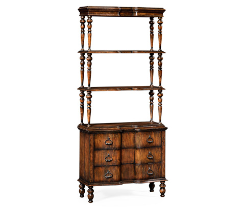 Image of Three Tiered Etagere with Drawers In Rustic Walnut