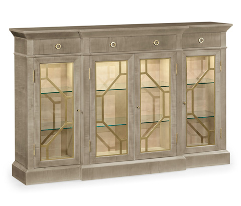 Jonathan Charles - Opera Four Door Breakfront Display Cabinet - 495415-GSH-BRS