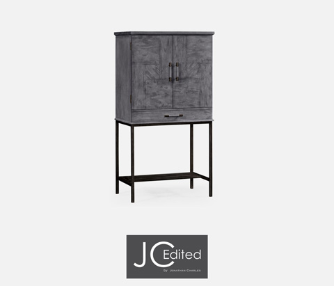 Image of Antique Dark Grey Bar Cabinet