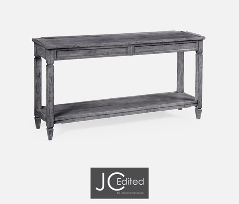 Console Table With Drawers In Antique Dark Grey 491024