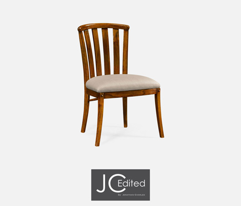 Image of Country Walnut Style Curved Back Dining Chair
