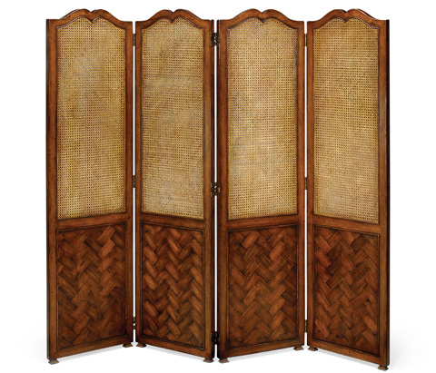 Image of French Caned and Parquet Four Panel Screen
