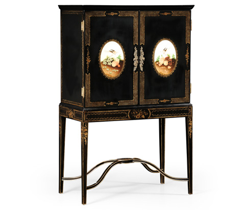 Image of Black Painted Bar Cabinet