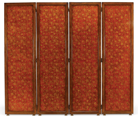 Image of Red Chinoiserie Four Panel Screen