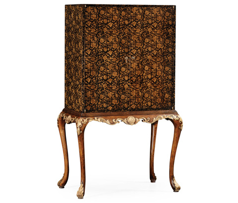 Image of Black Chinoiserie Bar Cabinet