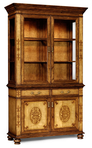 Image of Raised Veneer Glazed Cabinet with Cupboards